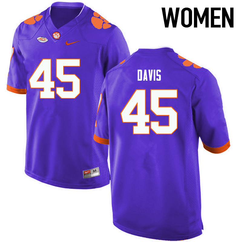 Women Clemson Tigers #45 Jeff Davis College Football Jerseys-Purple