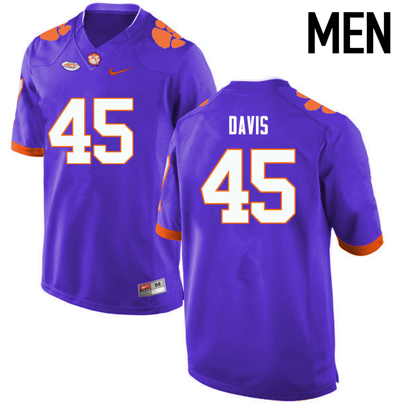 Men Clemson Tigers #45 Jeff Davis College Football Jerseys-Purple