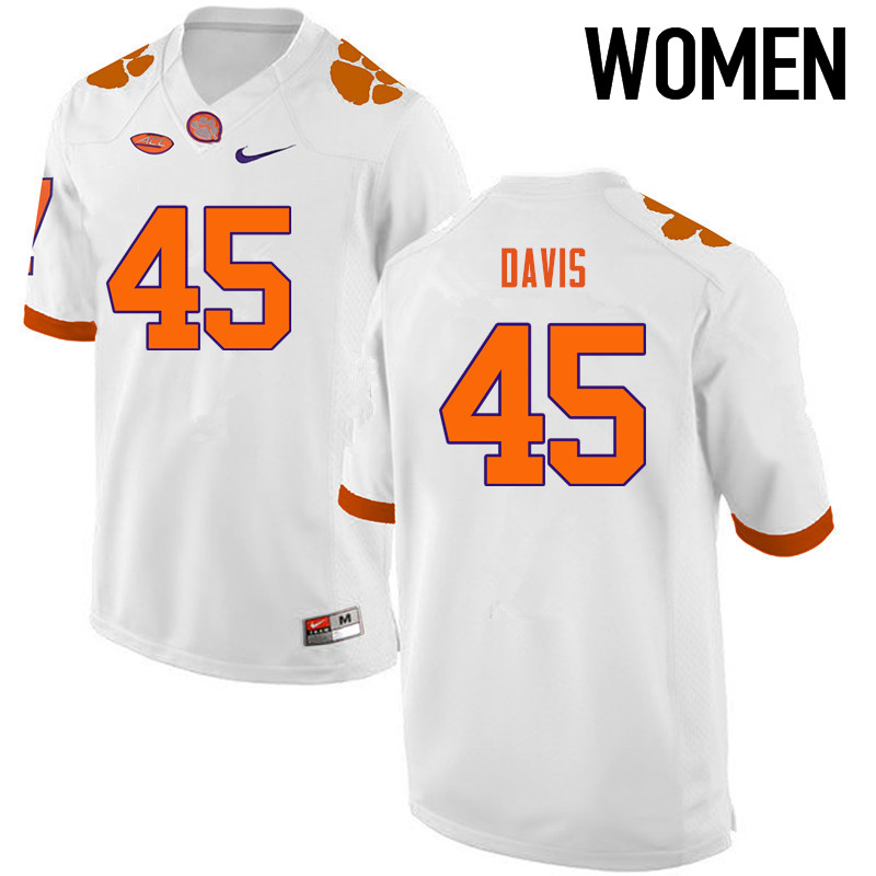Women Clemson Tigers #45 Jeff Davis College Football Jerseys-White