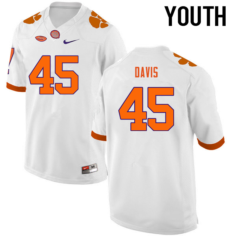 Youth Clemson Tigers #45 Jeff Davis College Football Jerseys-White