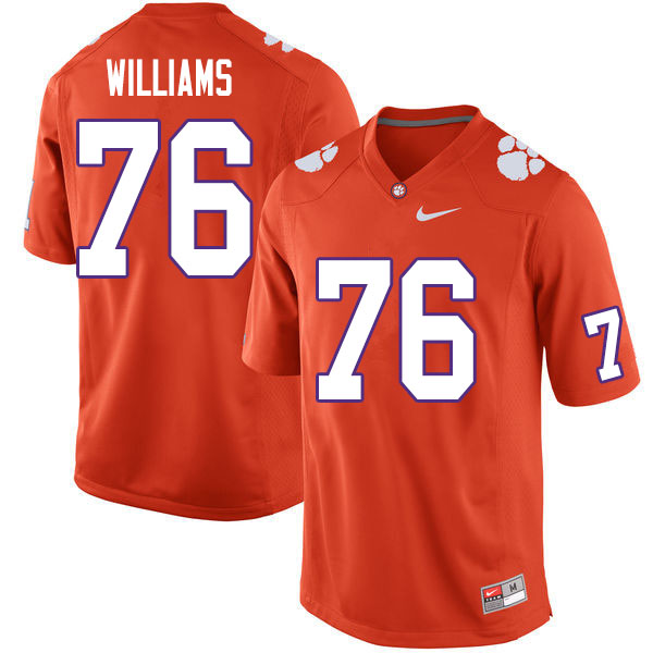 Men #76 John Williams Clemson Tigers College Football Jerseys Sale-Orange