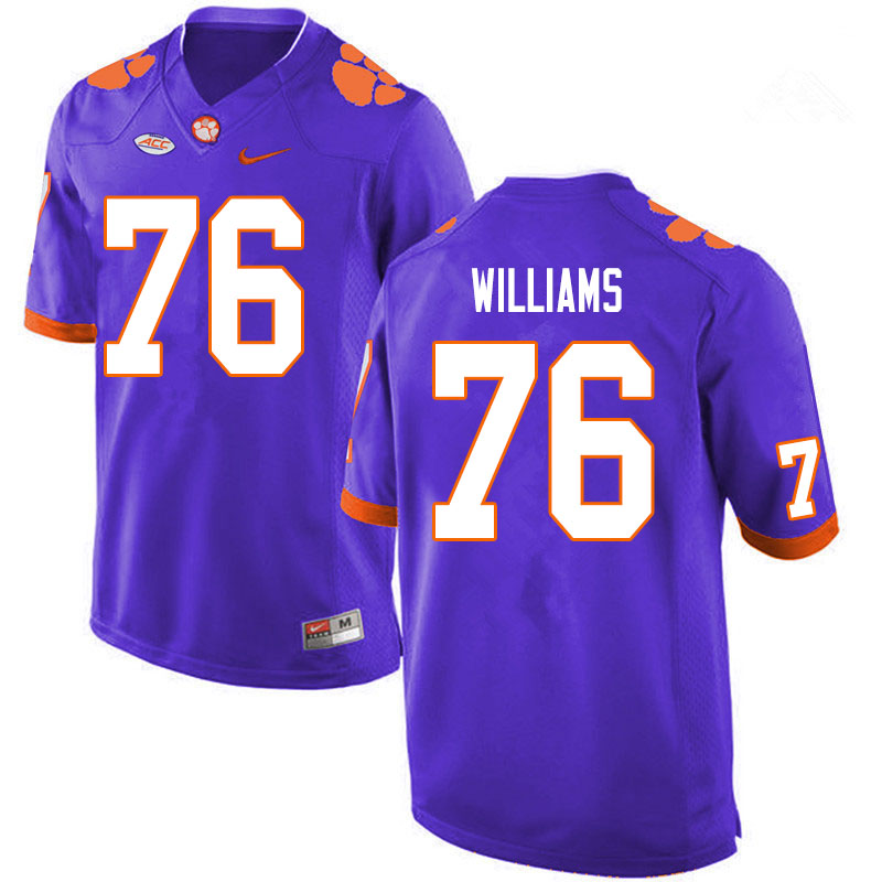 Men #76 John Williams Clemson Tigers College Football Jerseys Sale-Purple