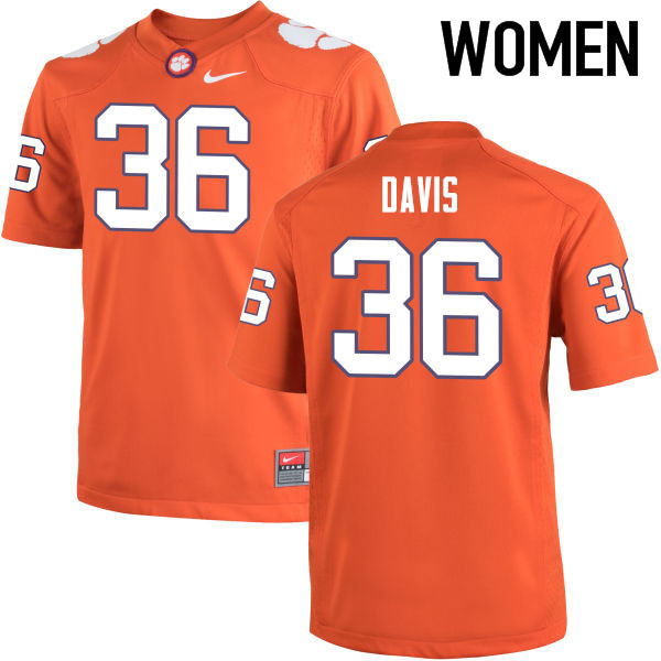 Women Clemson Tigers #36 Judah Davis College Football Jerseys-Orange