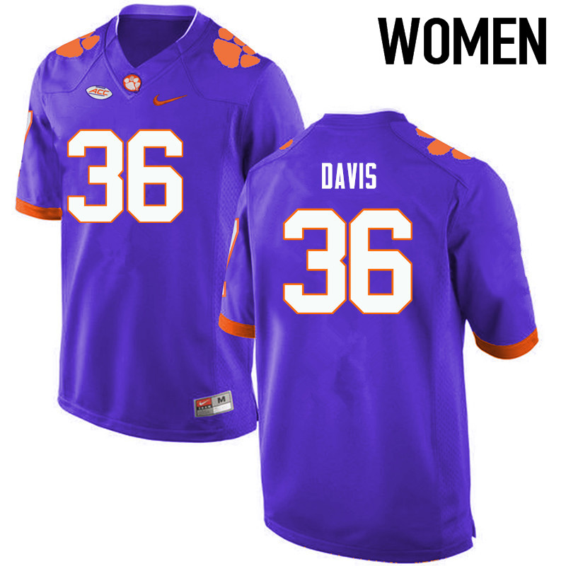 Women Clemson Tigers #36 Judah Davis College Football Jerseys-Purple