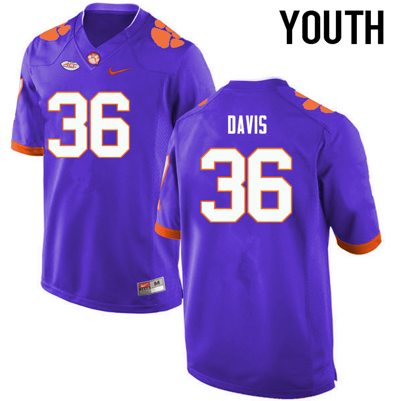 Youth Clemson Tigers #36 Judah Davis College Football Jerseys-Purple