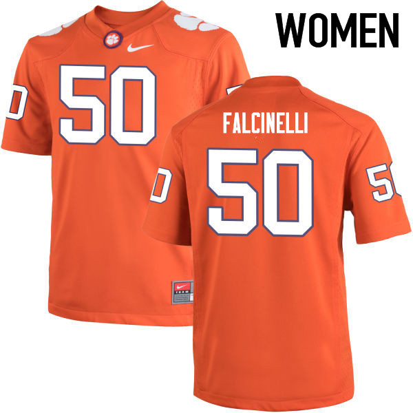 Women Clemson Tigers #50 Justin Falcinelli College Football Jerseys-Orange