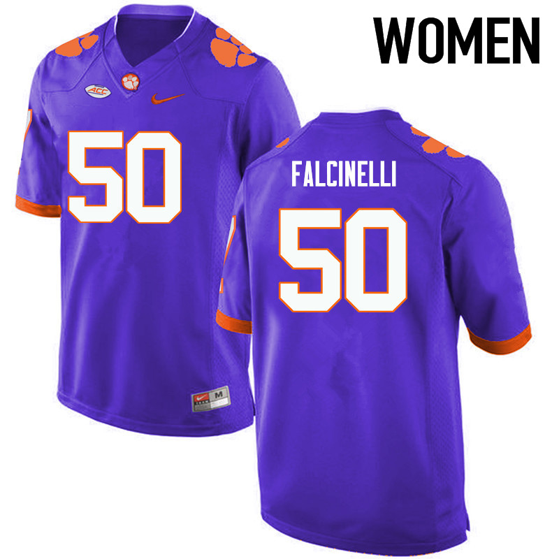 Women Clemson Tigers #50 Justin Falcinelli College Football Jerseys-Purple