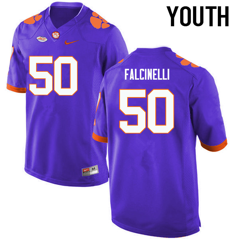 Youth Clemson Tigers #50 Justin Falcinelli College Football Jerseys-Purple
