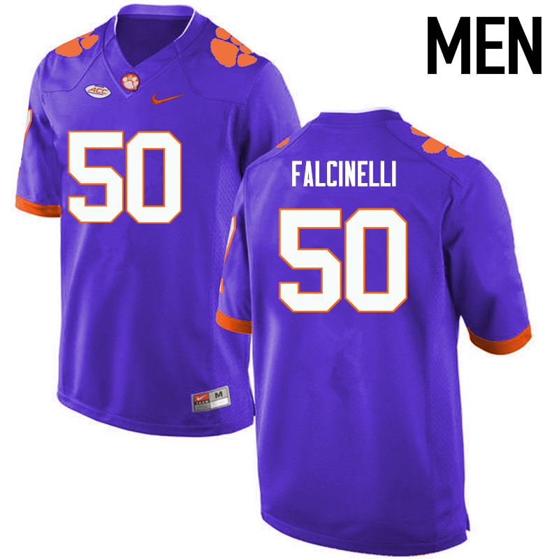 Men Clemson Tigers #50 Justin Falcinelli College Football Jerseys-Purple