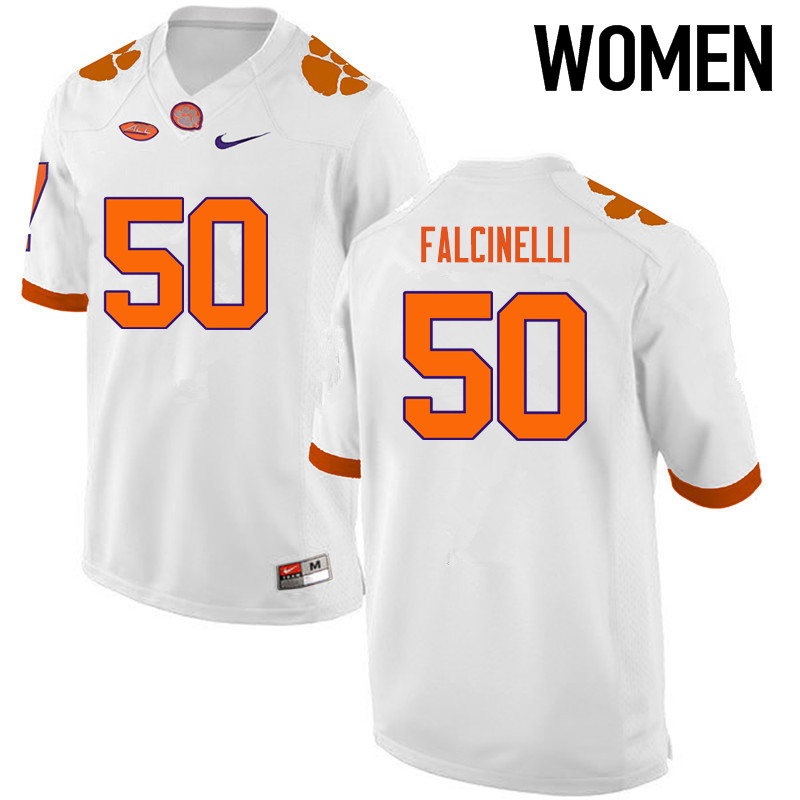 Women Clemson Tigers #50 Justin Falcinelli College Football Jerseys-White