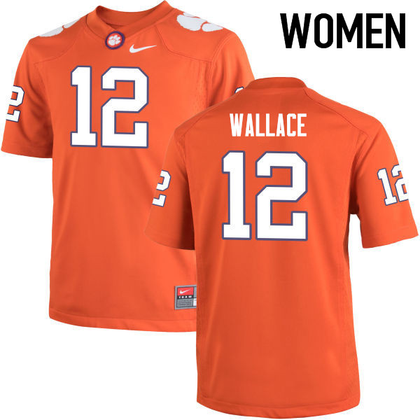 Women Clemson Tigers #12 KVon Wallace College Football Jerseys-Orange