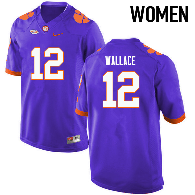Women Clemson Tigers #12 KVon Wallace College Football Jerseys-Purple