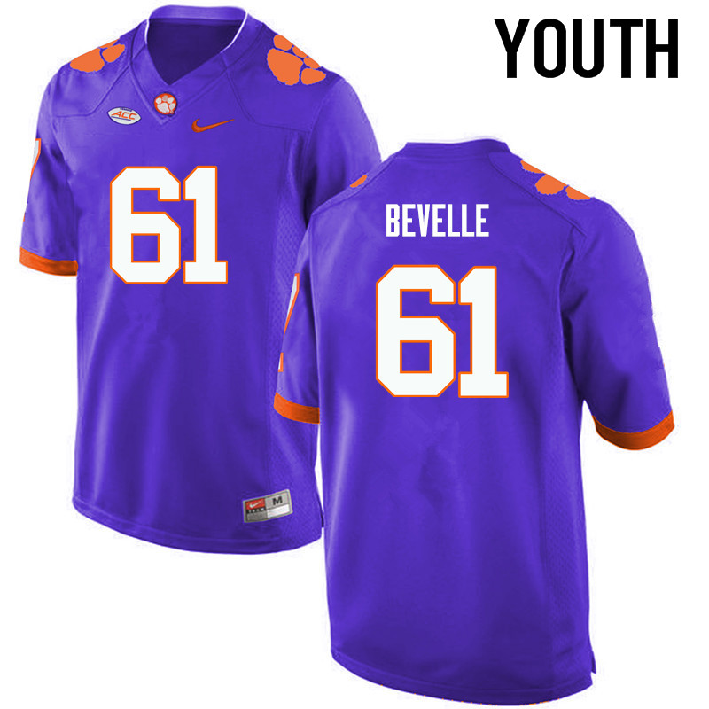 Youth Clemson Tigers #61 Kaleb Bevelle College Football Jerseys-Purple