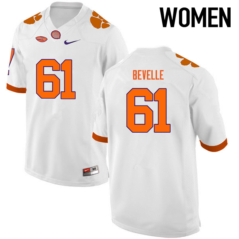 Women Clemson Tigers #61 Kaleb Bevelle College Football Jerseys-White