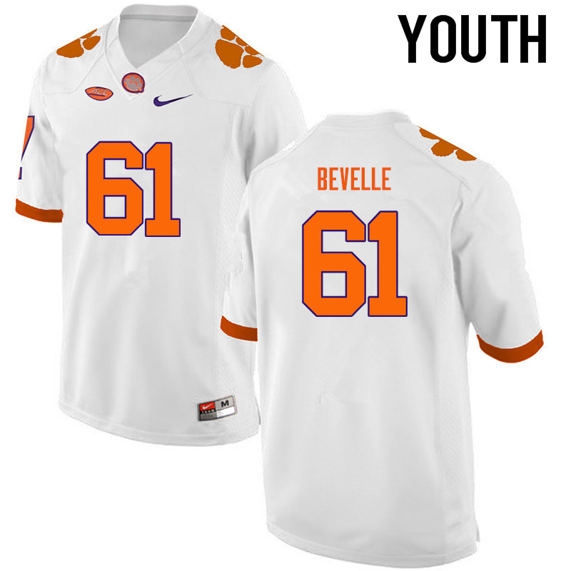 Youth Clemson Tigers #61 Kaleb Bevelle College Football Jerseys-White