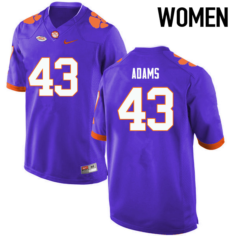Women Clemson Tigers #43 Keith Adams College Football Jerseys-Purple