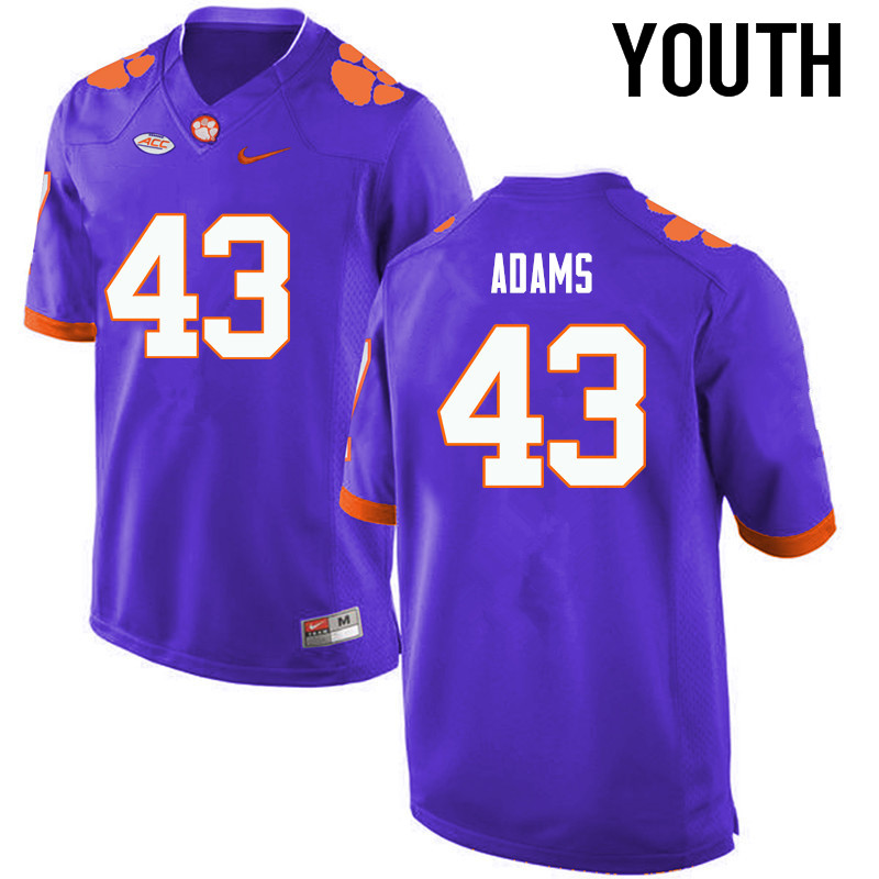 Youth Clemson Tigers #43 Keith Adams College Football Jerseys-Purple