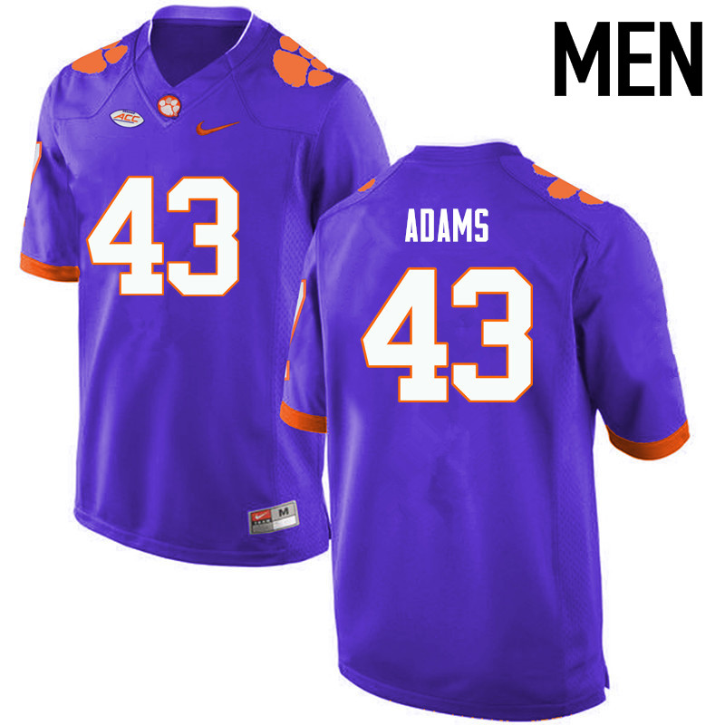 Men Clemson Tigers #43 Keith Adams College Football Jerseys-Purple