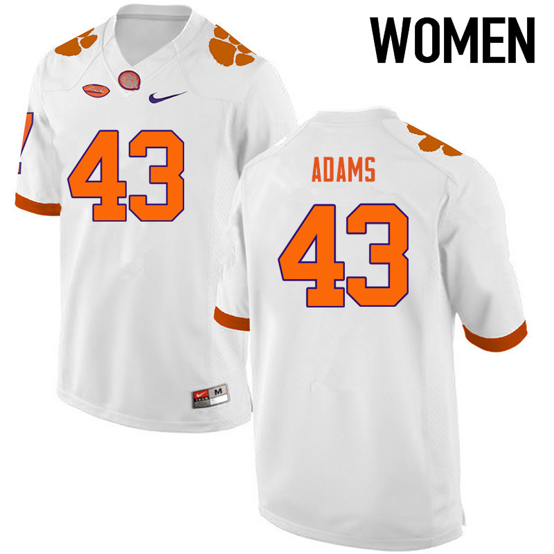 Women Clemson Tigers #43 Keith Adams College Football Jerseys-White