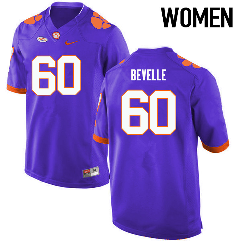 Women Clemson Tigers #60 Kelby Bevelle College Football Jerseys-Purple