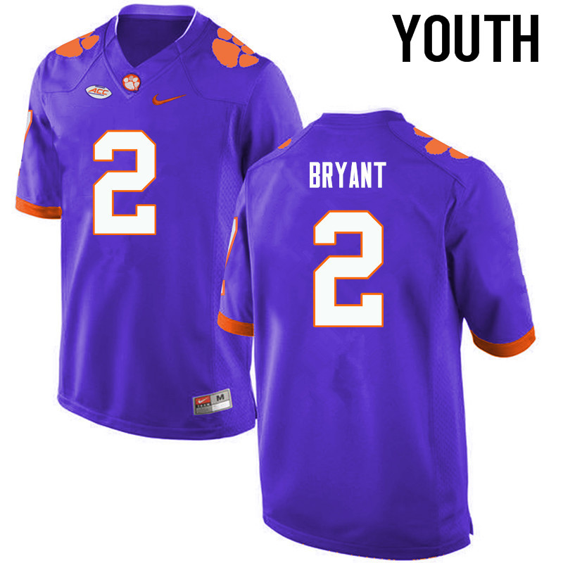Youth Clemson Tigers #2 Kelly Bryant College Football Jerseys-Purple