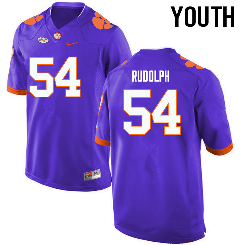 Youth Clemson Tigers #54 Logan Rudolph College Football Jerseys-Purple