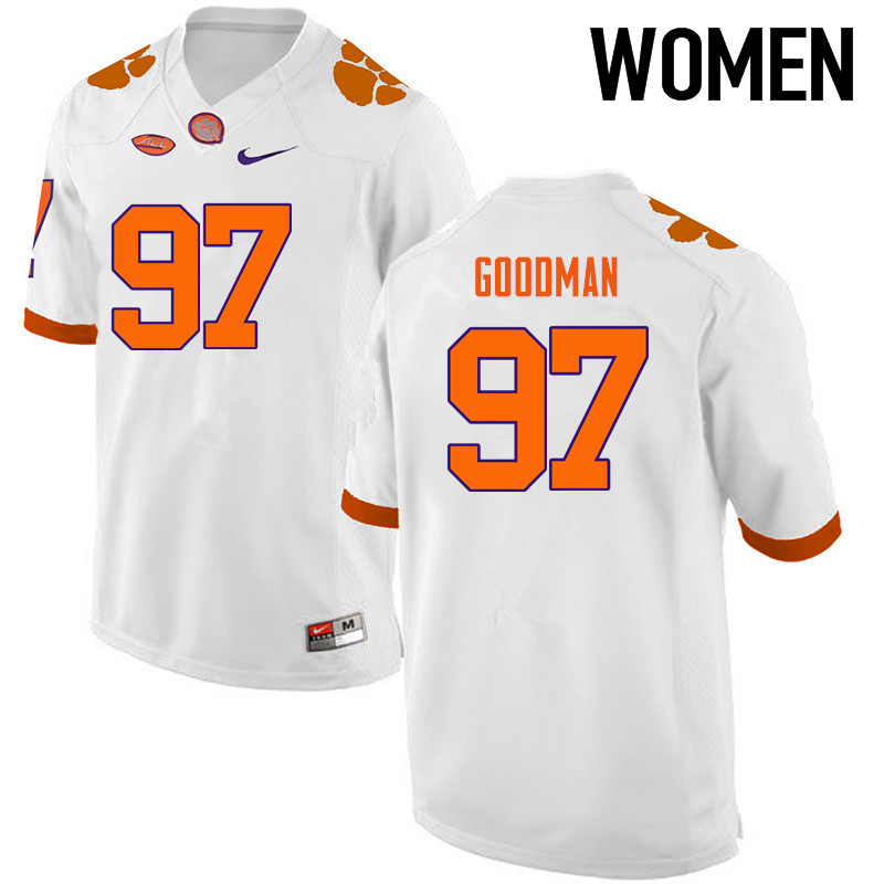 Women Clemson Tigers #97 Malliciah Goodman College Football Jerseys-White