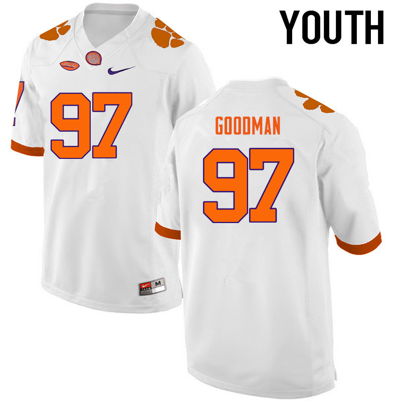 Youth Clemson Tigers #97 Malliciah Goodman College Football Jerseys-White