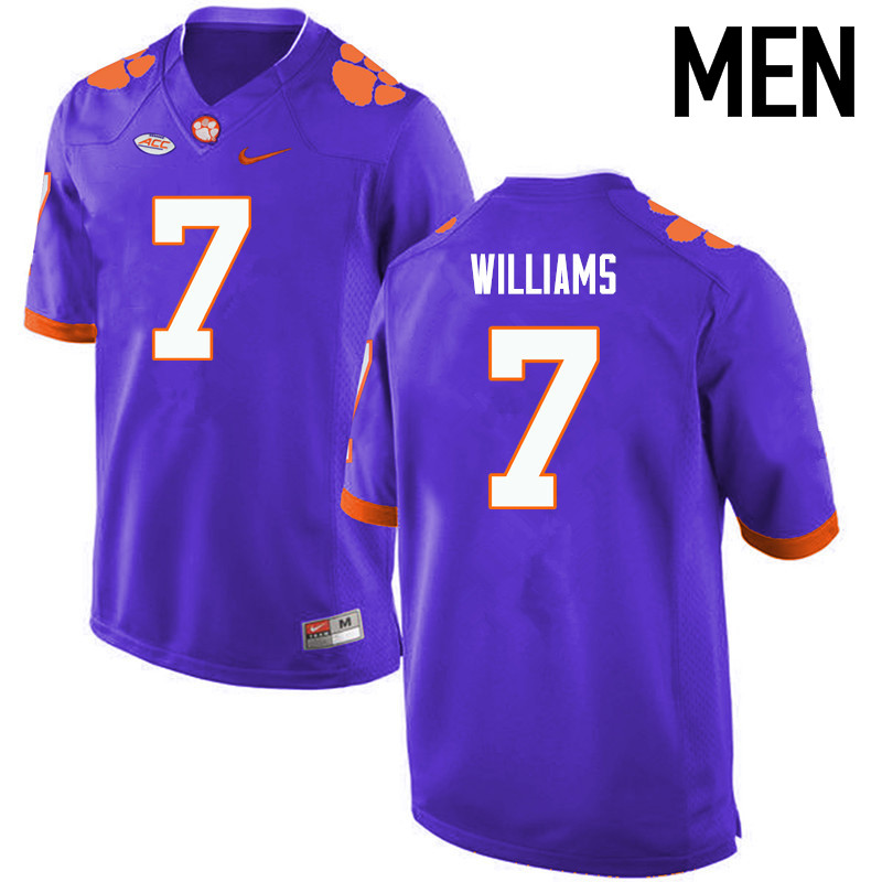 Men Clemson Tigers #7 Mike Williams College Football Jerseys-Purple