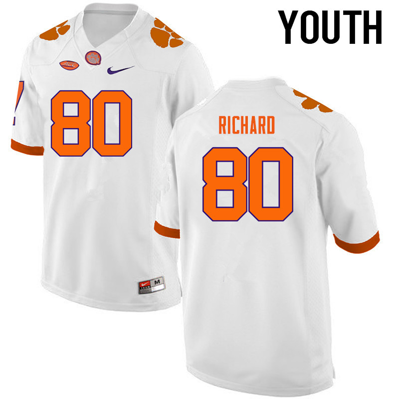 Youth Clemson Tigers #80 Milan Richard College Football Jerseys-White