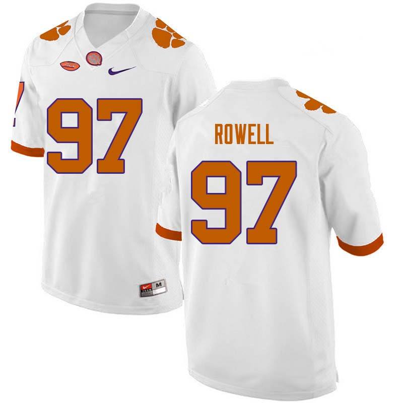 Men #97 Nick Rowell Clemson Tigers College Football Jerseys Sale-White