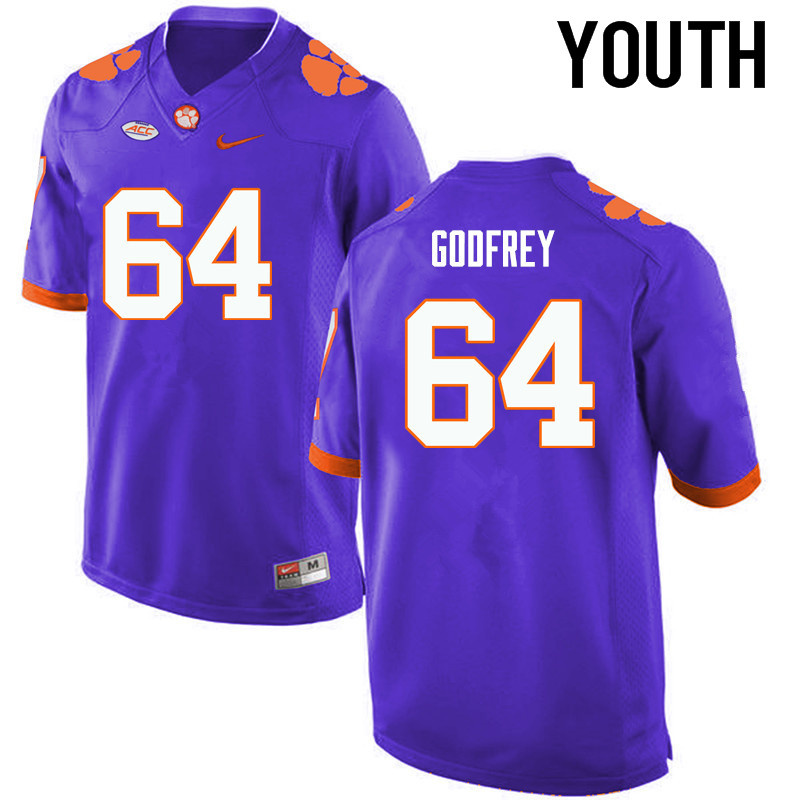 Youth Clemson Tigers #64 Pat Godfrey College Football Jerseys-Purple