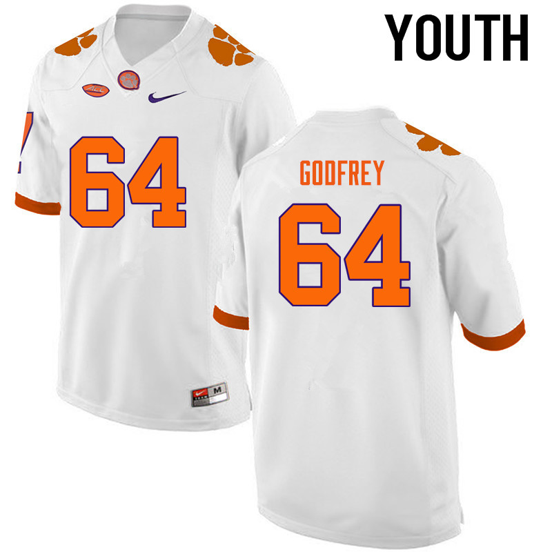 Youth Clemson Tigers #64 Pat Godfrey College Football Jerseys-White
