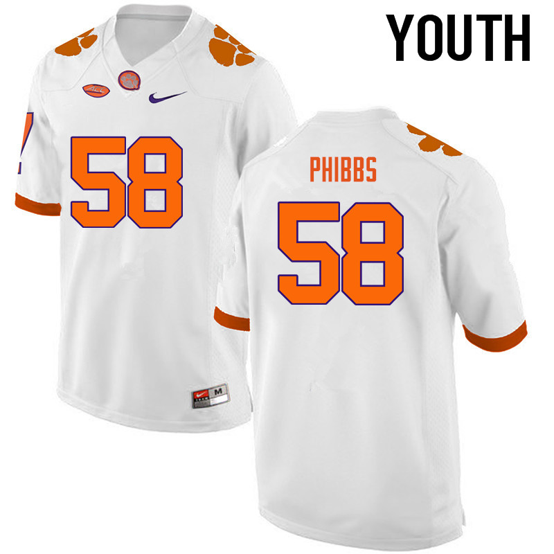 Youth Clemson Tigers #58 Patrick Phibbs College Football Jerseys-White