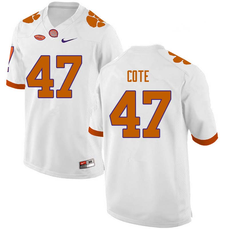 Men #47 Peter Cote Clemson Tigers College Football Jerseys Sale-White
