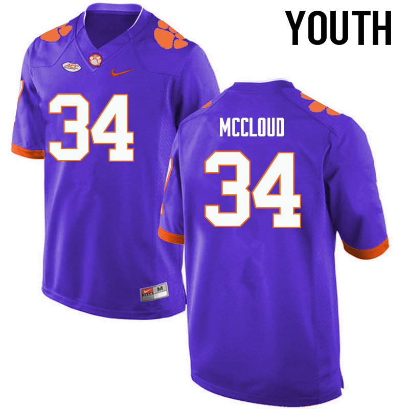 Youth Clemson Tigers #34 Ray-Ray McCloud College Football Jerseys-Purple