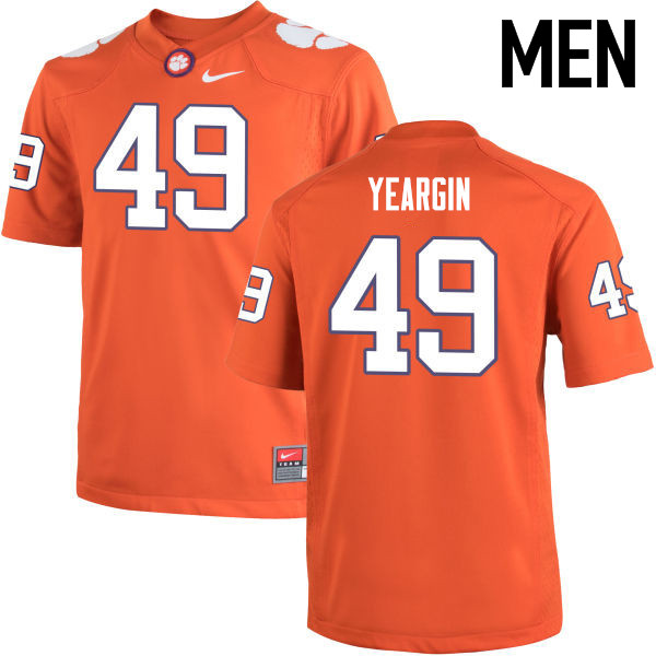 Men Clemson Tigers #49 Richard Yeargin College Football Jerseys-Orange