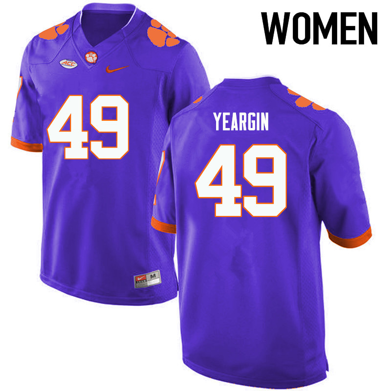 Women Clemson Tigers #49 Richard Yeargin College Football Jerseys-Purple