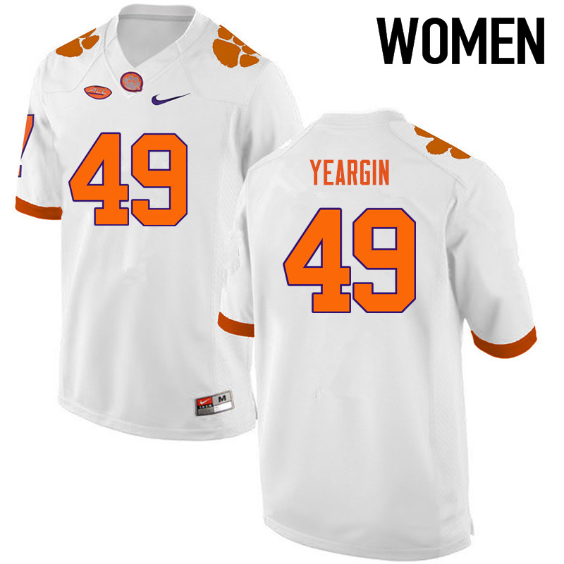 Women Clemson Tigers #49 Richard Yeargin College Football Jerseys-White