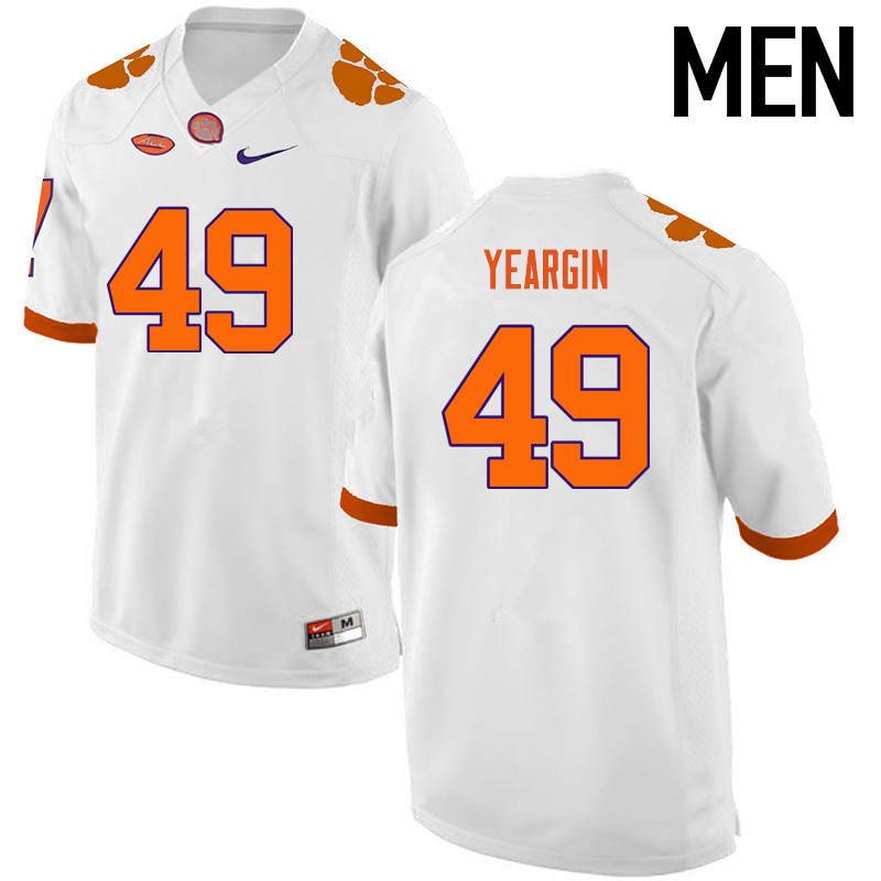 Men Clemson Tigers #49 Richard Yeargin College Football Jerseys-White