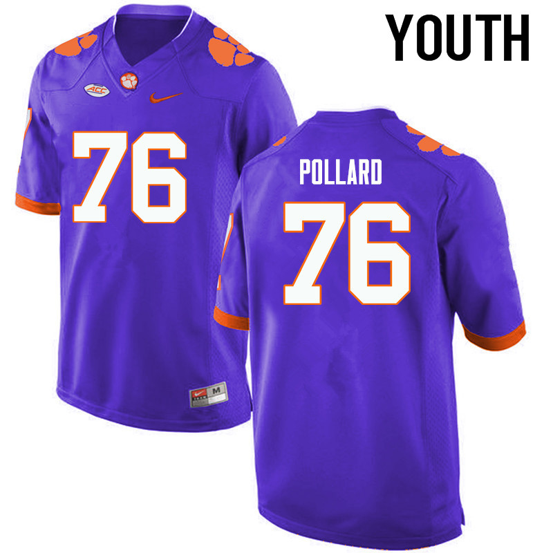 Youth Clemson Tigers #76 Sean Pollard College Football Jerseys-Purple