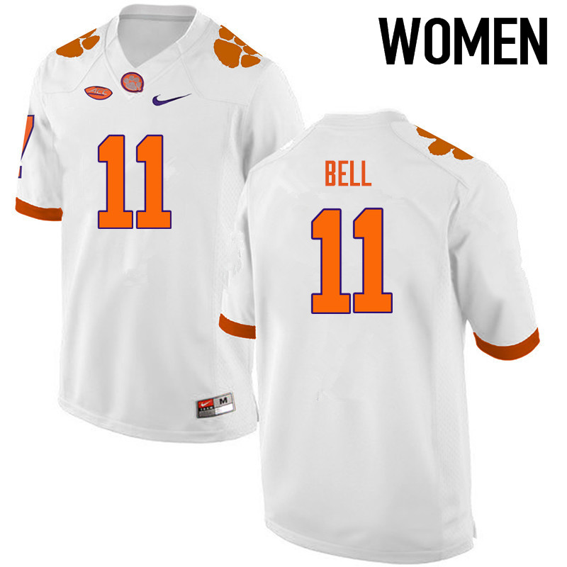Women Clemson Tigers #11 Shadell Bell College Football Jerseys-White