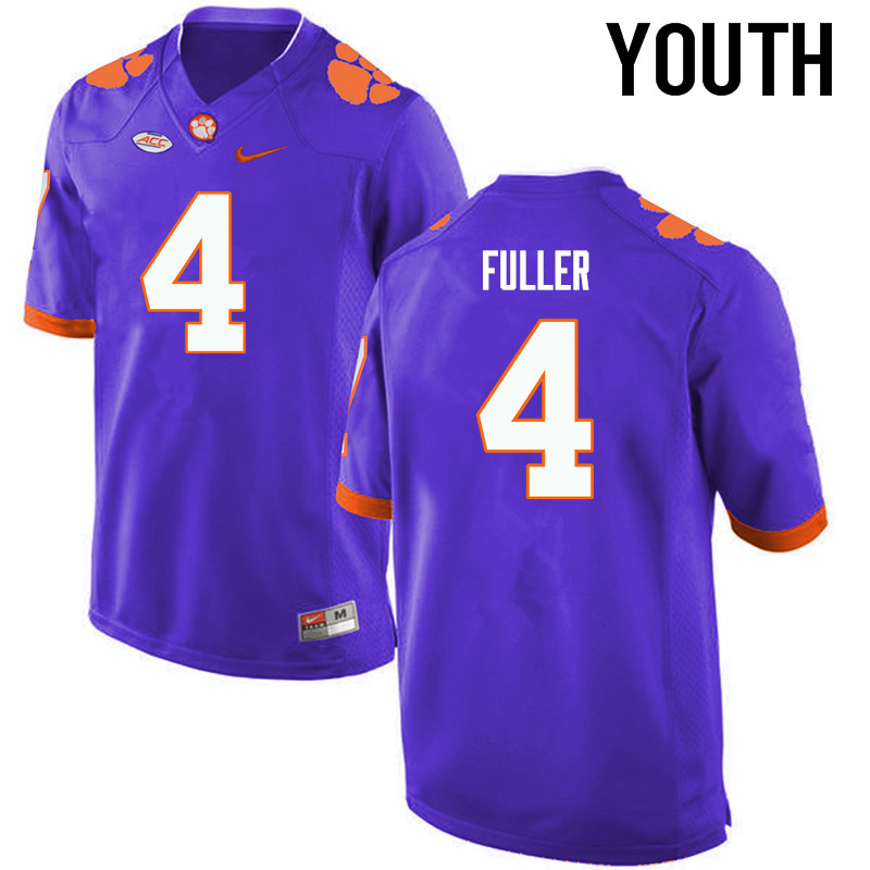 Youth Clemson Tigers #4 Steve Fuller College Football Jerseys-Purple