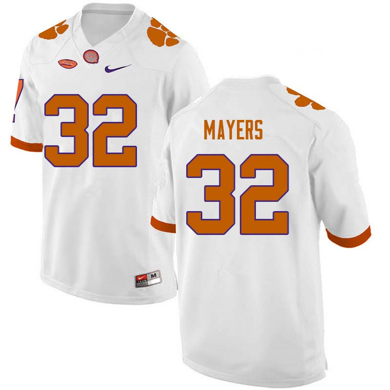 Men #32 Sylvester Mayers Clemson Tigers College Football Jerseys Sale-White