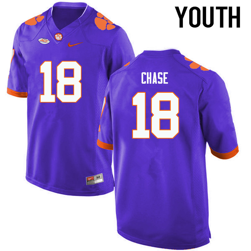 Youth Clemson Tigers #18 Tavares Chase College Football Jerseys-Purple