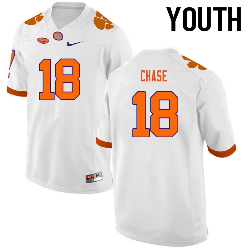 Youth Clemson Tigers #18 Tavares Chase College Football Jerseys-White