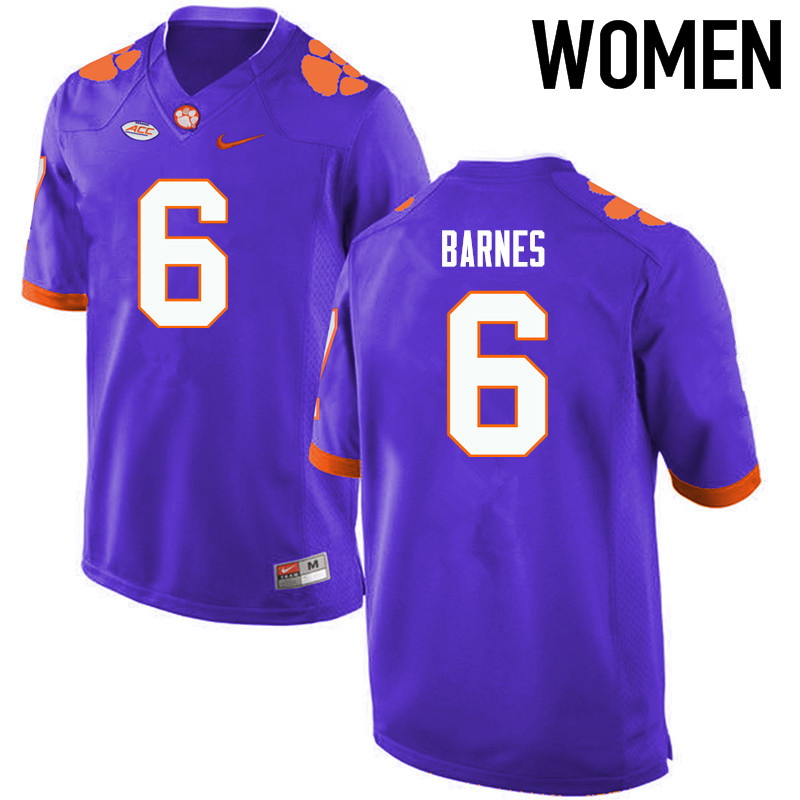 Women Clemson Tigers #6 Tavaris Barnes College Football Jerseys-Purple