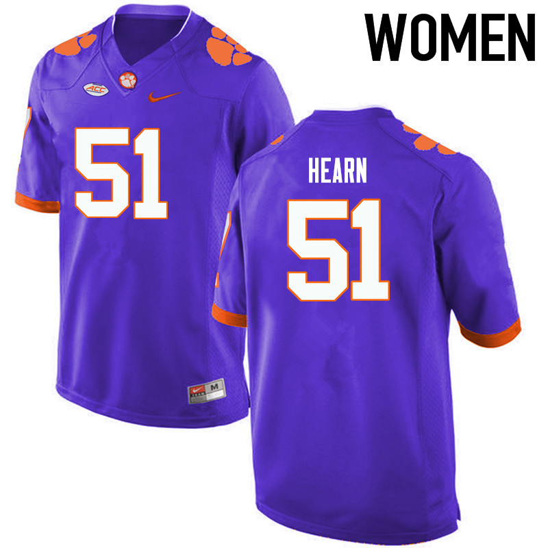 Women Clemson Tigers #51 Taylor Hearn College Football Jerseys-Purple
