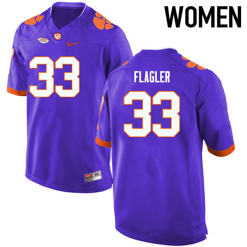 Women Clemson Tigers #33 Terrence Flagler College Football Jerseys-Purple