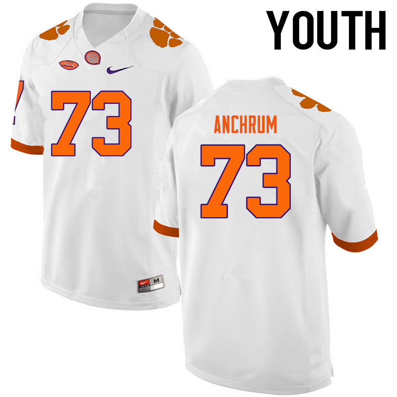 Youth Clemson Tigers #73 Tremayne Anchrum College Football Jerseys-White